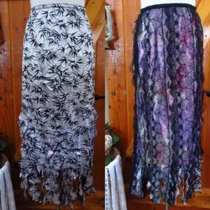 Black Lace & Floral Pattern REVERSIBLE Maxi Skirt